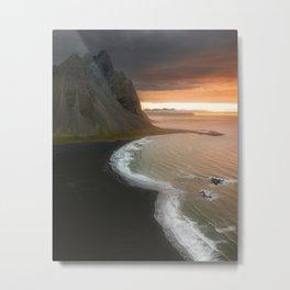 Dreamy sunrise at Stokksnes black sand beach on the Icelandic east coast – Landscape Photography Metal Print