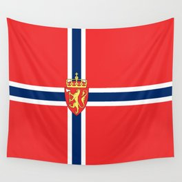 Flag of Norway Scandinavian Cross and Coat of Arms Wall Tapestry