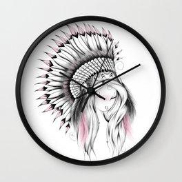 Indian Headdress Pink Version Wall Clock