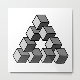 Impossible Cubes Metal Print