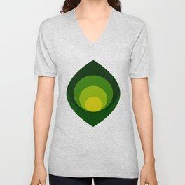 Retro petals design - Shade of green Unisex V-Neck