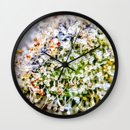 Diamond OG Kush Strain Top Shelf Indoor Hydro Trichomes Close Up View Wall Clock