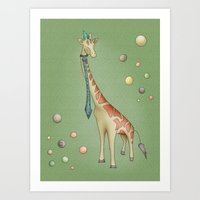 giraffe Art Prints featuring Giraffe by Catru