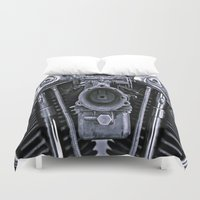 motorcycle Duvet Covers featuring MOTORCYCLE  by ALX RUTECKI