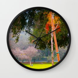 Green pastures and trees photo Wall Clock