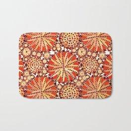 Tribal Mandala Print, Rust Orange and Brown Bath Mat