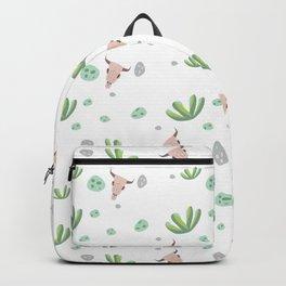 Trendy green pink bohemian skull cactus floral Backpack