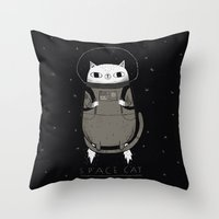 soviet Throw Pillows featuring space cat by Louis Roskosch