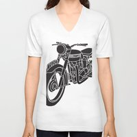 motorcycle V-neck T-shirts featuring Motorcycle by Gemma Bullen Design