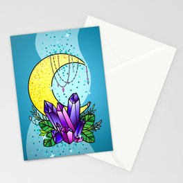 Mystical Crystals and Moon Stationery Cards