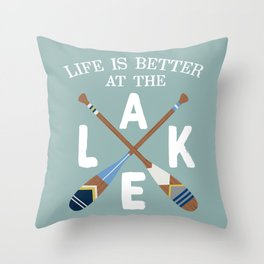 Life Is Better At The LAKE Painted Paddles Throw Pillow
