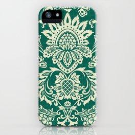 Damask vintage in green iPhone Case