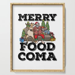 Foodie Gifts Food Coma Funny Christmas Pun Santa Claus Serving Tray