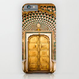 Lotus gate door in pink city at City Palace of Jaipur, India iPhone Case