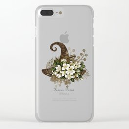 Witch Hat- White Flowers- Hocus Pocus Clear iPhone Case