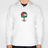 palestine Hoodies featuring Vintage Tree of Life with Flag of Palestine by Jeff Bartels