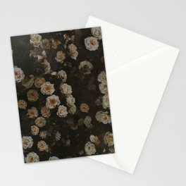 Midnight Dark Floral Grunge Stationery Cards