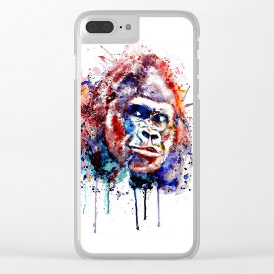 Gorilla Watercolor portrait Clear iPhone Case