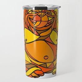 Laughing Buddha Dog Mosaic Color Travel Mug