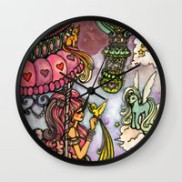80s Wall Clocks featuring 80s dreamscape by Charlie L'amour
