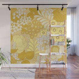 Yellow, Ivory & Brown Retro Floral Pattern Wall Mural