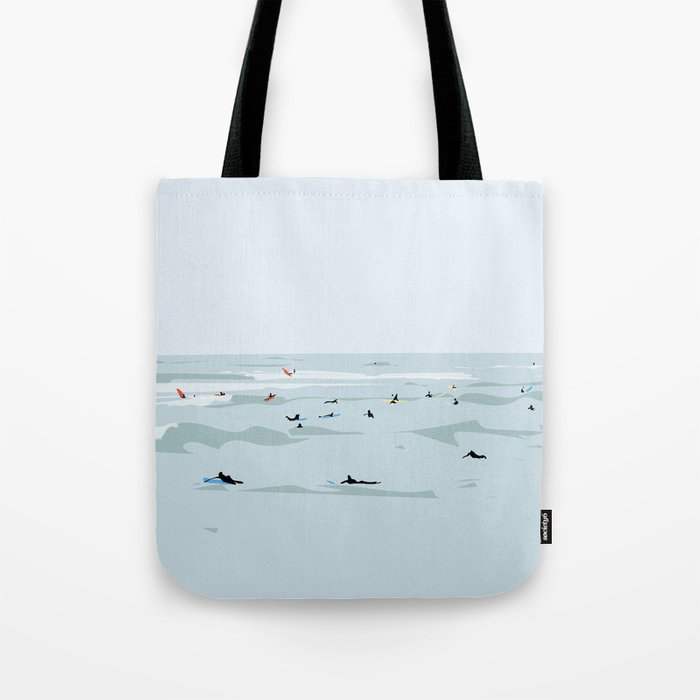 Tiny Surfers in Lima Illustrated Tote Bag