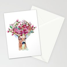 Shy watercolor floral deer Stationery Cards