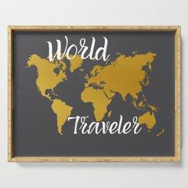 Gold World Traveler Serving Tray