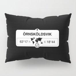 Örnsköldsvik Västernorrland GPS Coordinates Map Artwork Pillow Sham