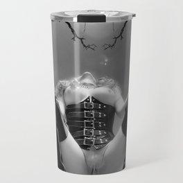 7034-TT Desert Domination BW IR Art Nude In Black Leather Corset Thigh High Boots Travel Mug