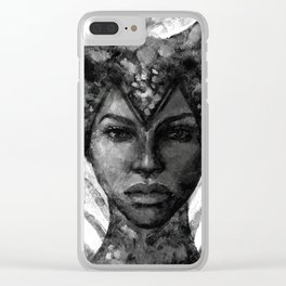 Vivienne black and white Clear iPhone Case
