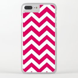 UA red - fuchsia color - Zigzag Chevron Pattern Clear iPhone Case