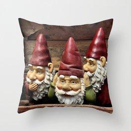 Three Gnomes Throw Pillow