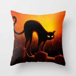 Spooky Halloween Black Cat Throw Pillow