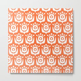 Retro Flower Pattern Orange 2 Metal Print