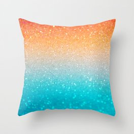 Glitter Teal Gold Coral Sparkle Ombre Throw Pillow