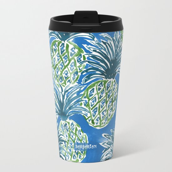 LAPIS PINEAPPLE O'CLOCK Tropical Print Metal Travel Mug