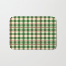 Plaid Pattern in Green and Beige Bath Mat