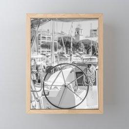 Nautical Travel Photography | Harbor Yacht Boat Ocean Seascape Sea Water France Europe Wanderlust Framed Mini Art Print