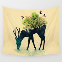 bianca green Wall Tapestries featuring Watering (A Life Into Itself) by Picomodi