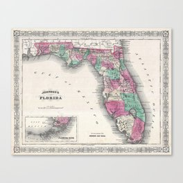 1866 Map of Florida Canvas Print