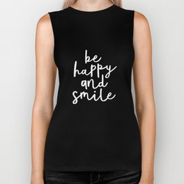 Be Happy and Smile black-white typography poster black and white design bedroom wall home decor room Biker Tank