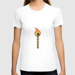Light Striped Match Stick On Fire Retro T-shirt
