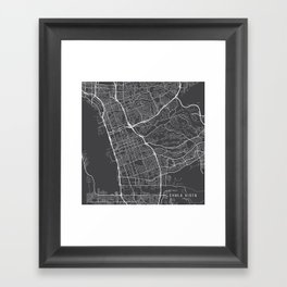 Chula Vista Map, USA - Gray Framed Art Print