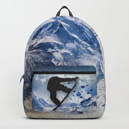 Snowboarder In Flight Backpack