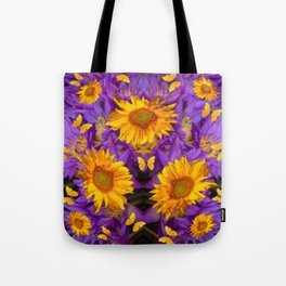 YELLOW BUTTERFLY SWARM LILAC-KHAKI COLOR Tote Bag
