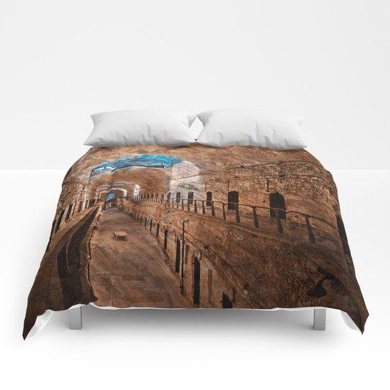 Prison Corridor - Sepia Blues Comforters