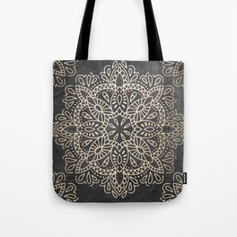 Mandala White Gold on Dark Gray Tote Bag