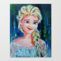frozen elsa Canvas Prints featuring Elsa Frozen by Diptimayee Nayak
