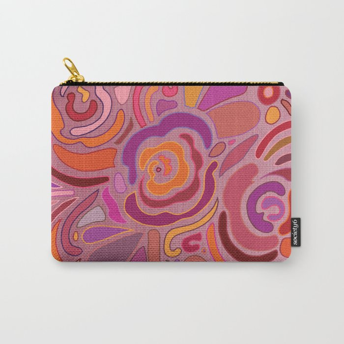 Rose fragments, pink, purple and orange Carry-All Pouch